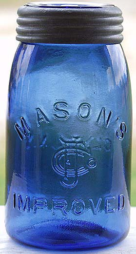 Quart size cobalt blue embossed MASON S CFJCo IMPROVED on front and CLYDE 714fc3c20b42